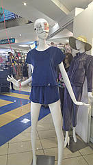 Піжама жіноча футболка та шорти морська хвиля кольору, м'які м'який плюш. Туреччина S. М.