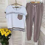 Жіночий літній костюм з брюками з льону (Туреччина); розм 44 46 48 50 (баталов) і норма з м л хл, фото 2