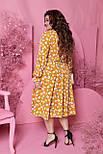 Весняна сукня жіноча вільний у квітковий принт (Батал), фото 3