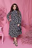 Весняна сукня жіноча вільний у квітковий принт (Батал), фото 4