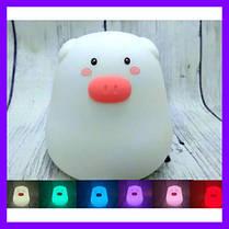 Ночной светильник силиконовая свинка Mini Pig, фото 3