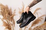 Жіночі черевики шкіряні весна/осінь чорні, фото 7