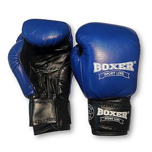Боксерские перчатки 6 oz кожа, синие BOXER