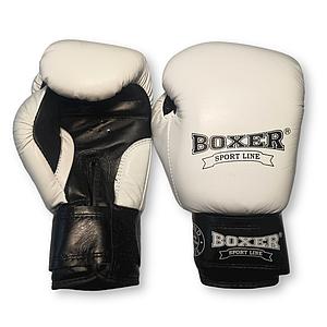 Боксерские перчатки 6 oz кожа, белые BOXER
