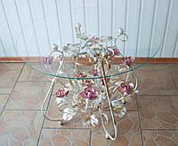 Стол кованый с розовыми розами С155 WR