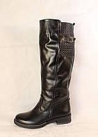 Зимние черные кожаные сапоги на низком каблуке, фото 1