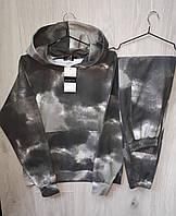 Женский спортивный костюм с худи оверсайз двунитка тай дай черный, одежда от производителя XS/S, M/L