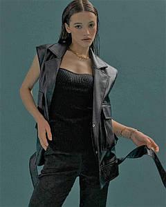 Жилет жіночий екокожа на підкладці 701 AniTi, чорний