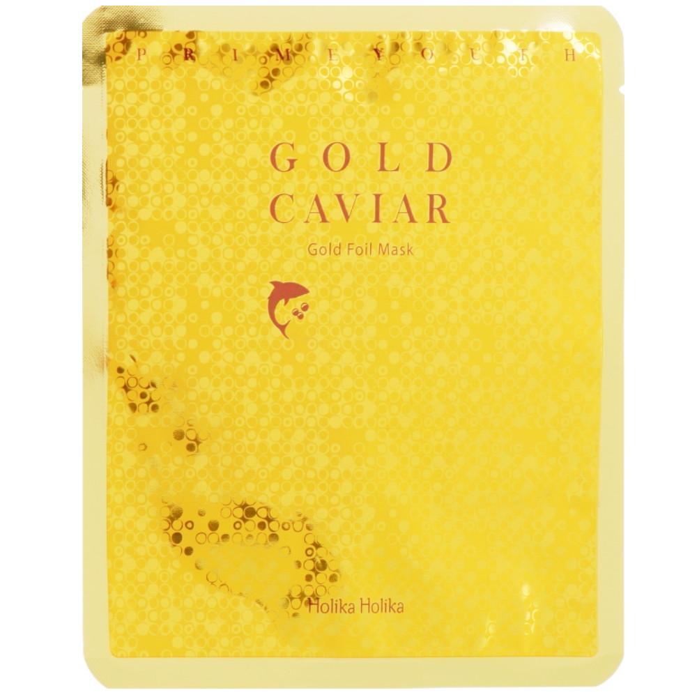 Антивозрастная тканевая маска с золотом Holika Holika Prime Youth Gold Caviar Gold Foil Mask 25 мл