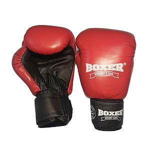 Боксерские перчатки 6 оz комбинированные, красные BOXER