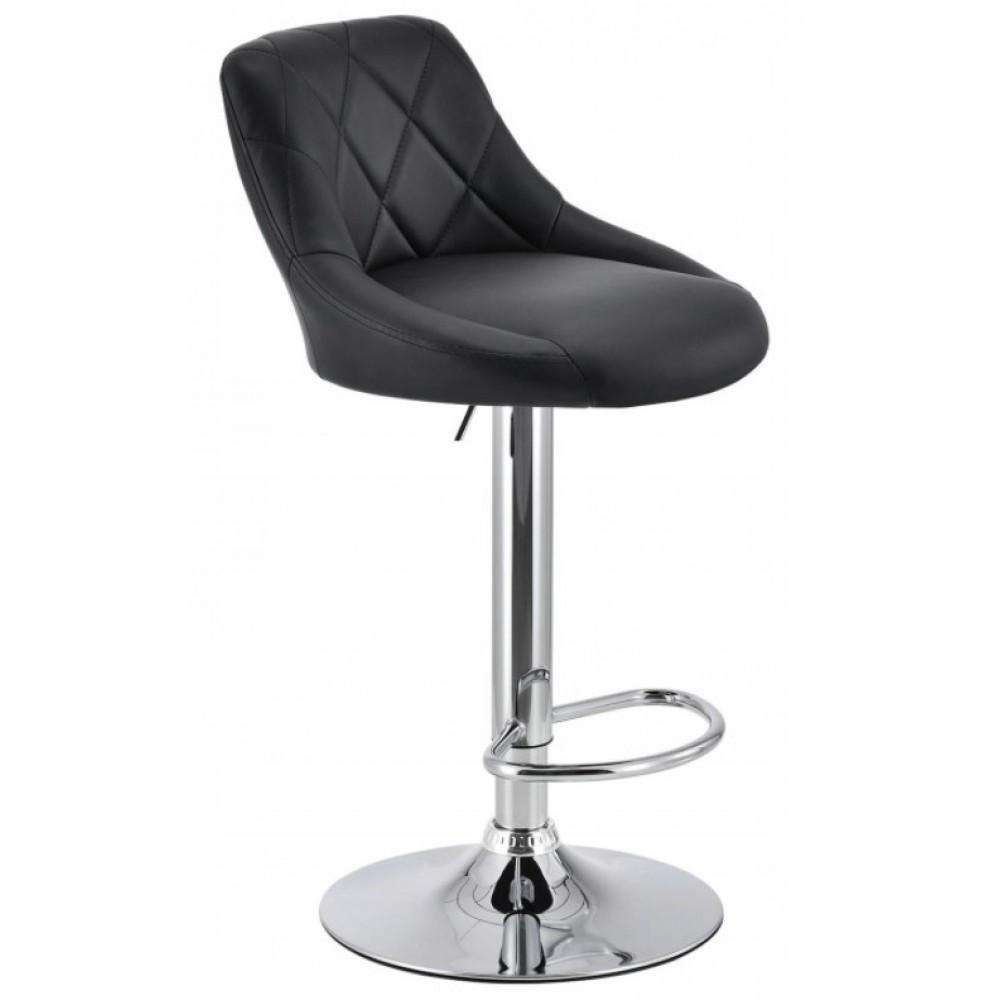 Барный стул хокер с ножкой из хромированной стали нагрузкой до 120 кг мягкий экокожа черный