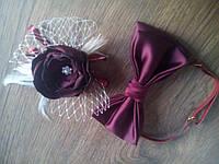 Набор заколка для невесты и бабочка для жениха цвет марсал