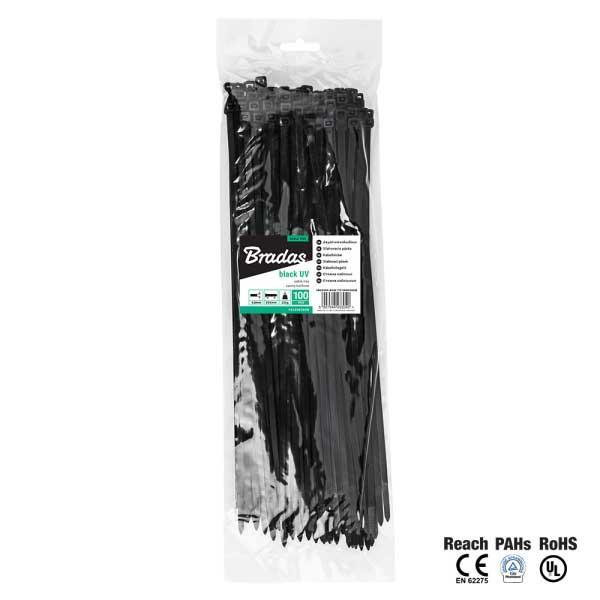 Кабельна стяжка, пластикова, 7,6 х 300 мм, UVBlack, TS1076300B