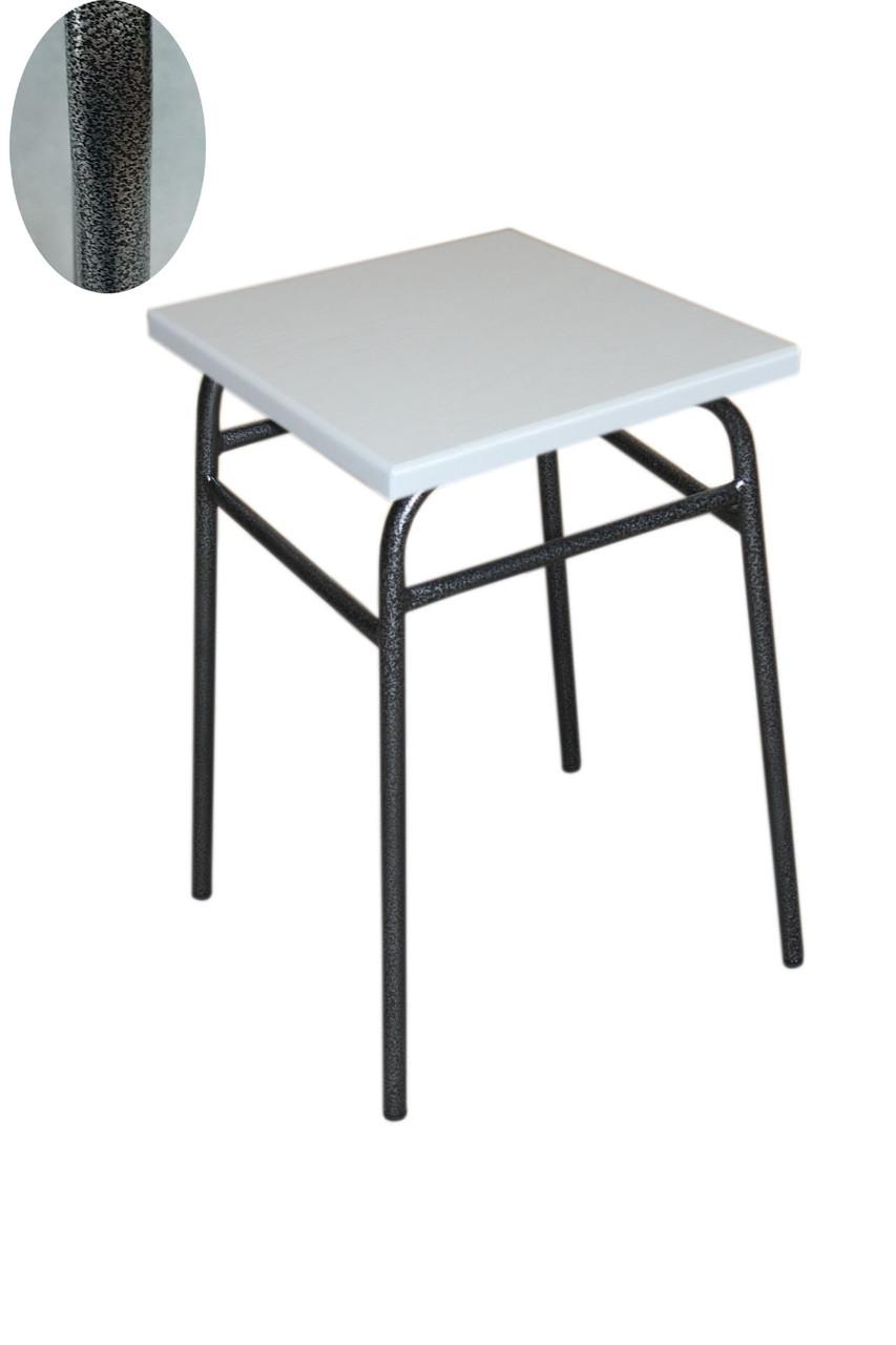 Кухонний табурет 47 см висота графіт каркас + біла сидушка