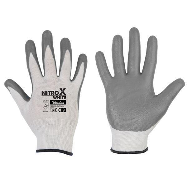 Рукавички захисні NITROX WHITE нітрил, розмір 8, RWNWH8