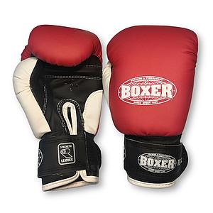 Боксерські рукавички 6 оz кожвініл, червоні BOXER