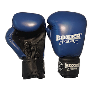 Боксерские перчатки 6 оz комбинированные, синие BOXER