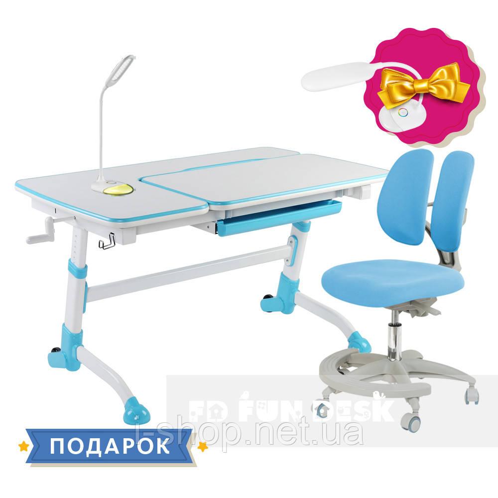 Комплект для школьника парта FunDesk Amare Blue + кресло для дома FunDesk Primo Blue
