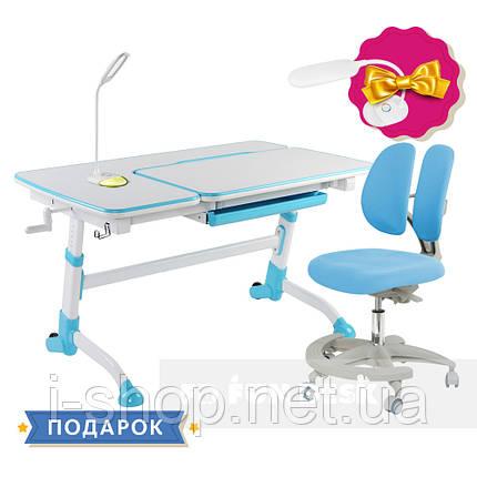 Комплект для школьника парта FunDesk Amare Blue + кресло для дома FunDesk Primo Blue, фото 2