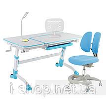 Комплект для школьника парта FunDesk Amare Blue + кресло для дома FunDesk Primo Blue, фото 3