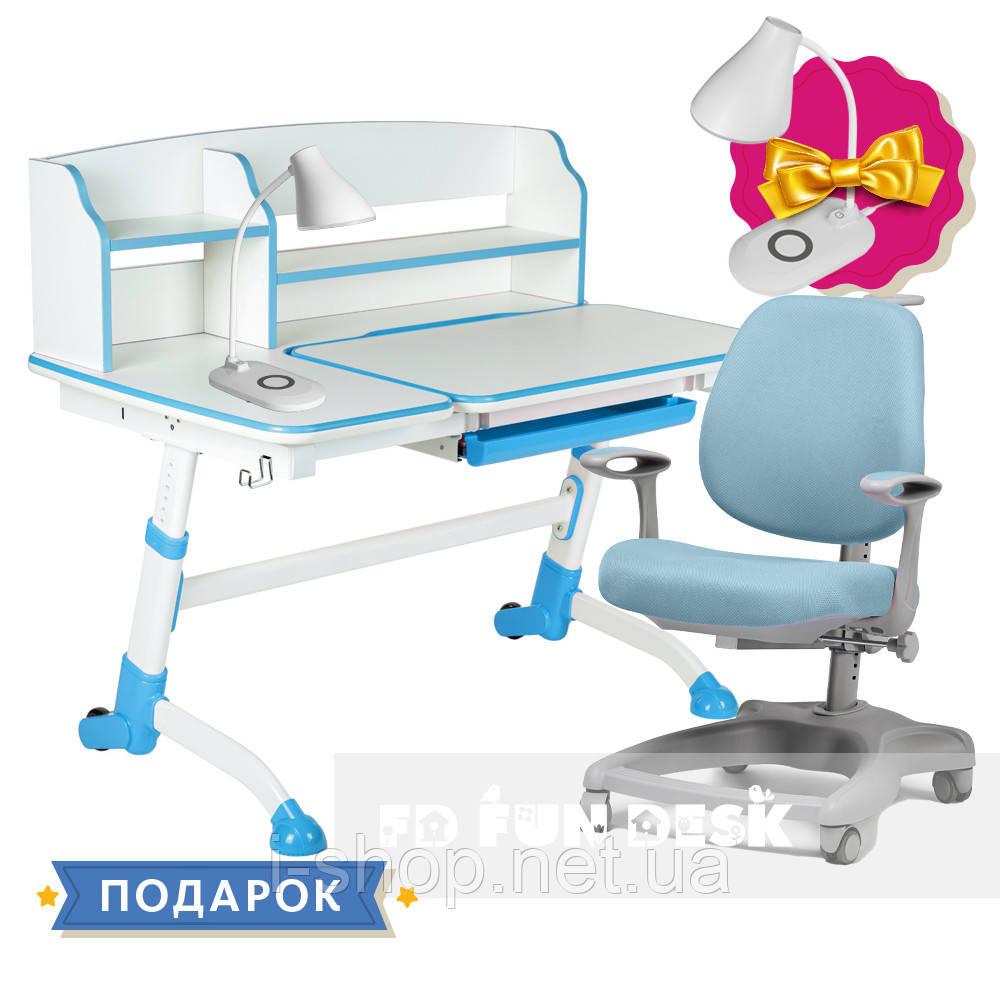 Комплект для школяра парта FunDesk Amare II Blue + ортопедичне крісло FunDesk Delizia Blue