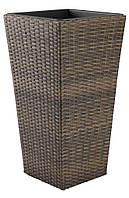 Горщик - вазон підлоговий великий коричневий (штучний ротанг)