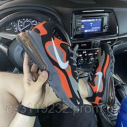 Мужские кроссовки Nike Air Max 270 React Orange Gray (серые)