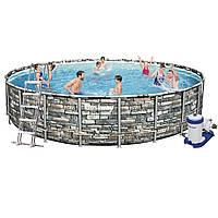 Каркасний басейн 56883, 610 x 132 см (Насос фільтр 9 463 л/год, сходи, тент, дозатор), фото 1