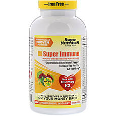 Super Nutrition, «Супер імунітет», мультивітаміни для зміцнення імунітету, без заліза, 240 таблеток