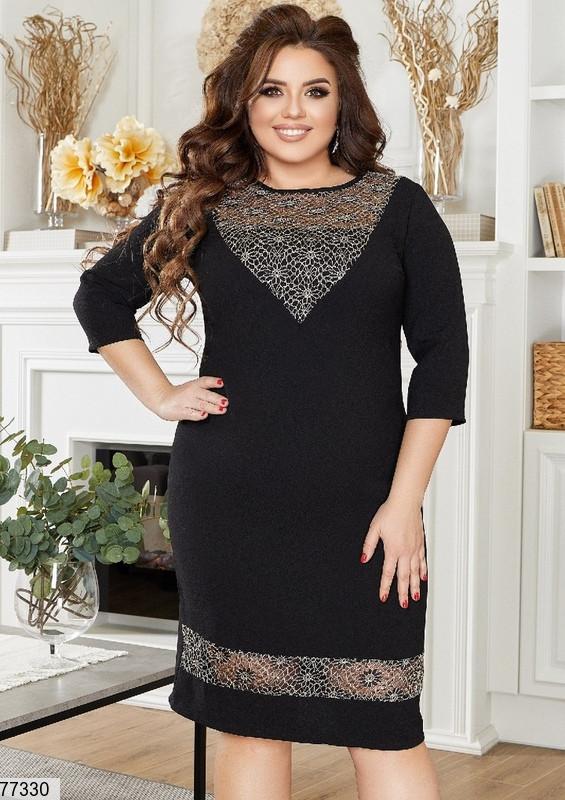 Ошатне жіноча сукня-футляр з гипюровыми вставками з 50 по 58 розмір