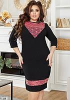 Ошатне жіноча сукня-футляр з гипюровыми вставками з 50 по 58 розмір, фото 4
