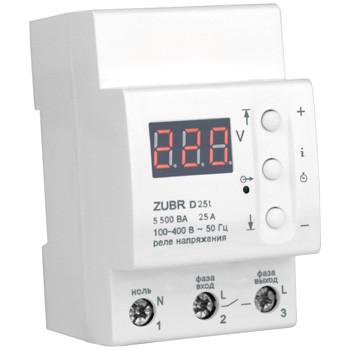 Реле защиты от перепадов напряжения ZUBR D25t