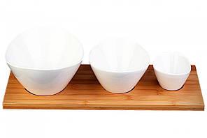 Набор овальных тарелок на деревянной подставке 3 шт Basic Bamboo Lunasol VZ-451359