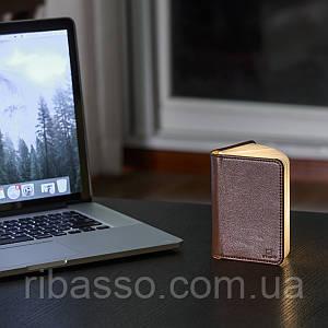 """Светильник-книга """"Smart Book"""" мини, натуральная кожа Gingko GK12L3"""