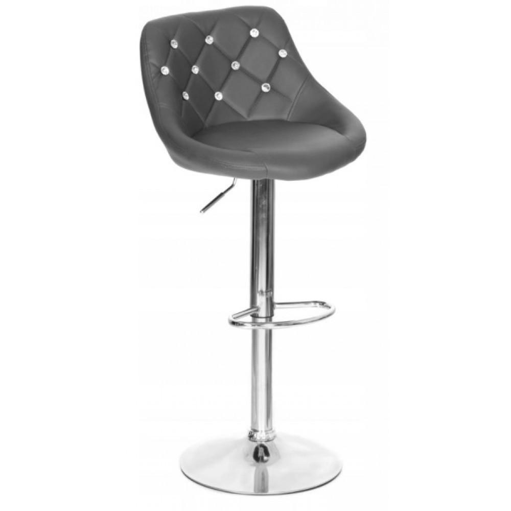 Барний стілець хокер з ніжкою з хромованої сталі з гумовим покриттям навантаження до 120 кг м'який сірий