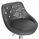 Барний стілець хокер з ніжкою з хромованої сталі з гумовим покриттям навантаження до 120 кг м'який сірий, фото 4