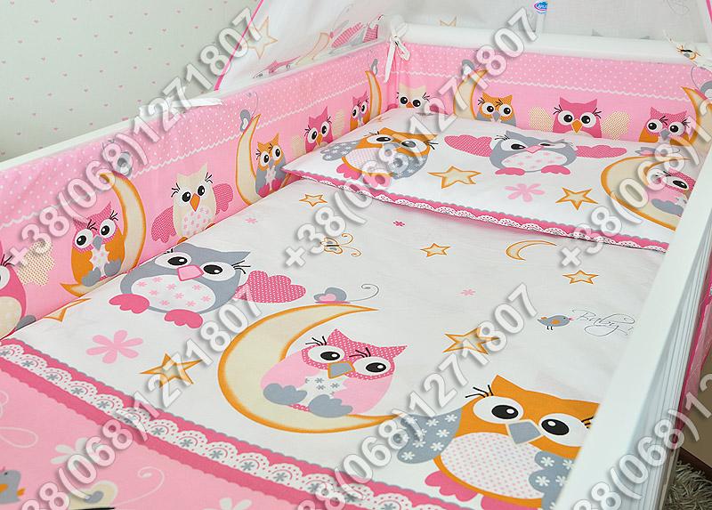"""Детское постельное белье в кроватку """"Бим Бом"""" комплект 5 ед. (сова розовый)"""