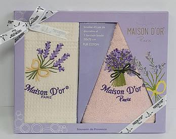 Подарочный набор кухонных полотенец Maison D'or Lavander Ecru-Pink