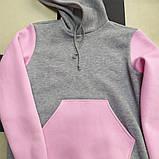 Худі для дівчинки тепла з каптуром сіра з рожевим, фото 2