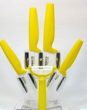 """Набор ножей (керамика) FRICO FRU-908, 3"""" 4"""" 5"""" 6"""" , + картофелечистка 5 шт + подставка, фото 2"""
