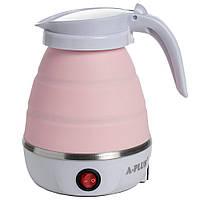 Силиконовый дорожный Электро-чайник А-Плюс WDL-09B 600 мл (Розовый) электрический складной (SH)