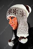 Женский вязанная шапка Ушанка
