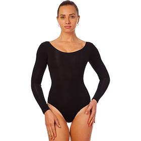 Купальник гимнастический CO-8309-СВ с длинным рукавом (хлопок,эласт,р.XL,рост 155-165,черный)