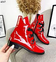Жіночі шкіряні лакові демісезонні черевики на низькому ходу 36-40 р червоний, фото 1