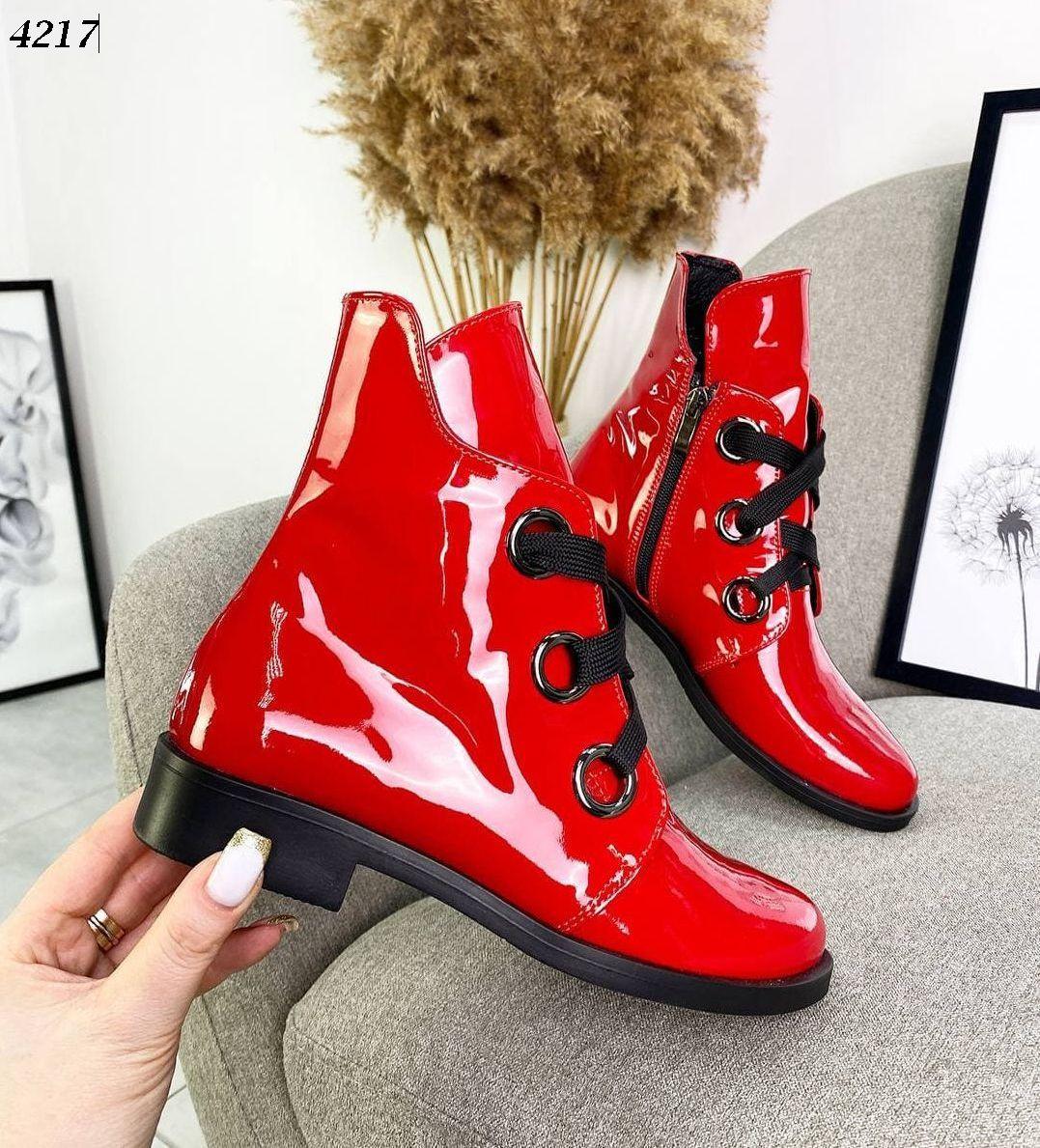 Жіночі шкіряні лакові демісезонні черевики на низькому ходу 36-40 р червоний