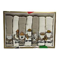 Набір вафельних рушників Nilteks бавовна 40-60 см 7 шт. бежеві, фото 1
