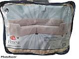 Чехол на угловой диван плюшевый, меховой, без оборки внизу, натяжные Venera Цвет Молочный, фото 9
