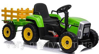 Детский электромобиль Трактор John Deere с прицепом (зеленый цвет) с пультом дистанционного управления 2,4 G