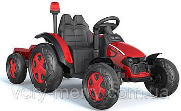 Дитячий електромобіль Трактор з причепом (червоний колір) з пультом дистанційного управління 2,4 G