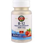 Витамин B-12, B-12 Adenosylcobalamin, KAL, вкус клубники, 1000 мкг, 90 микротаблеток
